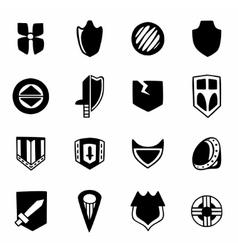 Shield icon set vector image vector image