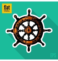 Sketch style hand drawn ships wheel flat icon vector image vector image