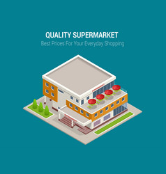 Supermarket exterior online shop credit cart vector
