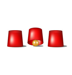 Thimblerig with red cups and golden ball vector