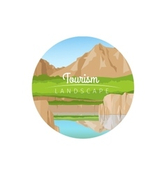 Tourism landscape with mountains circle icon vector image vector image