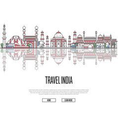 travel tour to india poster in linear style vector image vector image