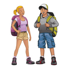 Trekking people vector