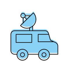 Van with antena satelite isolated icon vector