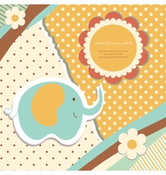 Vintage baby elephant vector image