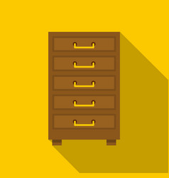 Wooden cabinet with drawers icon flat style vector