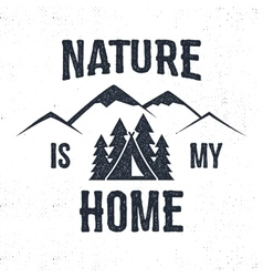 Hand drawn mountain advventure label nature is my vector