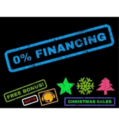 0 percent financing rubber stamp vector