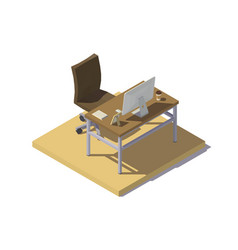 Isometric office workplace beige brown vector
