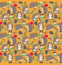 Cute background with hedgehog forest set vector