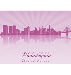 Philadelphia skyline in purple radiant orchid vector