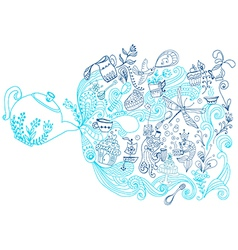tea time background doodle vector image