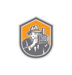 Photographer vintage camera shield retro vector