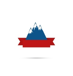 Mountains with ribbon for your text vector