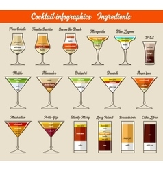 Cocktail infographics ingredients vector