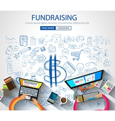 Fundraising concept with doodle design style vector