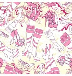 Seamless pattern with women boots and fashion vector