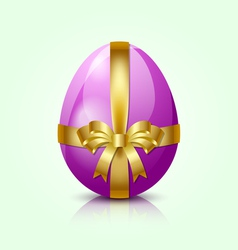 Purple easter egg with golden ribbon vector