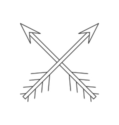 Cross arrows thin line icon vector