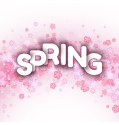 White spring sign over pink flowers background vector