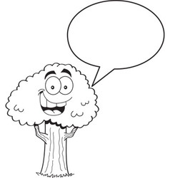Cartoon tree with a caption balloon vector