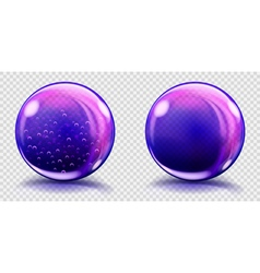 Two big violet glass spheres vector