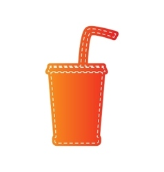 Drink sign  orange applique isolated vector