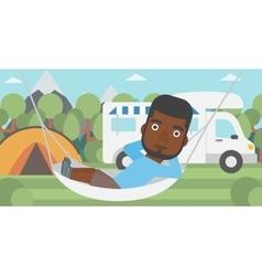 Man lying in hammock in front of motor home vector