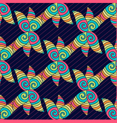 Abstract hand-drawn pattern colorful hippie vector