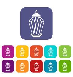 Arabic lantern icons set vector