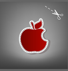 Bite apple sign red icon with for vector