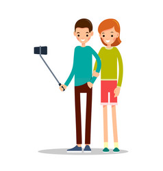 boy and girl with mobile phone man and woman do vector image vector image