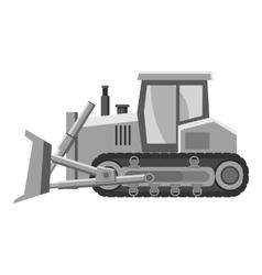 Bulldozer icon gray monochrome style vector