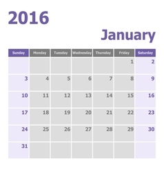 Calendar january 2016 week starts from sunday vector