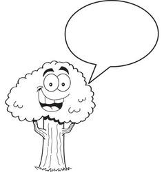 Cartoon tree with a caption balloon vector