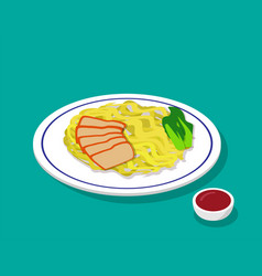 Dry egg noodle soup with roast pork in 3d style vector