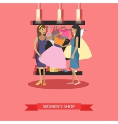Fashion woman clothes store interior vector