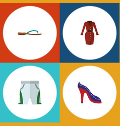 Flat icon garment set of heeled shoe trunks cloth vector