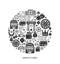 Gambling flat icons set vector image vector image