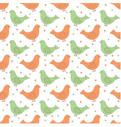 Green and orange ornate birds with dots in the vector