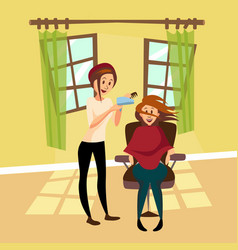 hairdresser woman drying hair for her client with vector image