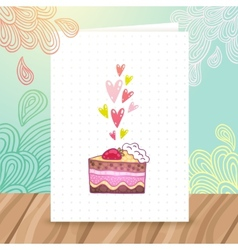 Happy Birthday postcard template with cake vector image vector image