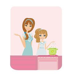 Happy mother helping her daughter cooking in the vector image vector image