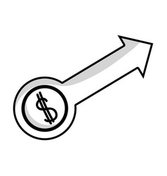 Line business arrow with coin to business strategy vector