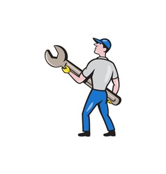 Mechanic carrying giant spanner cartoon vector