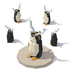 penguin with reindeer antlers vector image