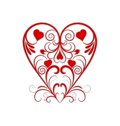 Red Heart With Flower Curl Over White vector image vector image