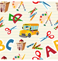 school stationery supplies pattern vector image