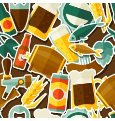 Seamless pattern with beer sticker icons and vector image vector image