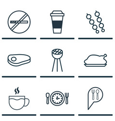 Set of 9 meal icons includes chicken fry stop vector